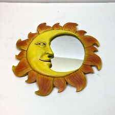 Vintage Sun Mirror Plaster Small Orange Yellow Wall Hanging Decor Half Face