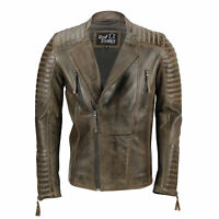 Mens Real Leather Biker Jacket Retro Brown Vintage Slim Fit Casual Zip Coat