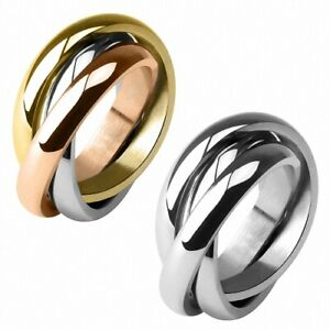 Damenring Schmuck Verlobungsring Edelstahl Triple 3 in 1 Ring aus drei Ringen