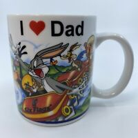 I Love Dad Six Flags Looney Tunes Coffee Mug Bugs Bunny Taz Tweety Daffy Duck