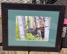 Wanda & Bill Keay **Hand- Signed** (Antler Rub Moose) Framed photo Free Ship USA