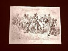 Incisione di Gustave Dorè del 1874 Contadini Andalusia per Feria Siviglia Spagna