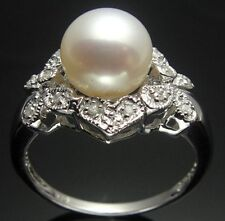 Classic Solitaire Solid 14k White Gold Diamond Pearl Engagement & Wedding  Ring