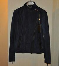 Authentic New Women's Gucci Dark Blue Suede Leather Biker Jacket,IT40/ S