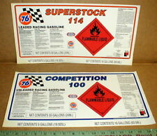 Union 76 Superstock 100-114 Octane Gasoline NASCAR LG Drag racing sticker decal