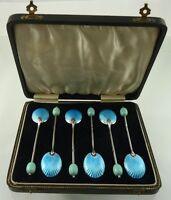 BLUE ENAMEL & STERLING CASED COFFEE SPOON SET 6 BY T&S BIRMINGHAM 1915