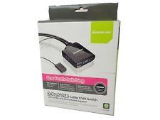 New IOGear 2 Port USB Cable KVM Switch GCS72U Audio + Mic Support