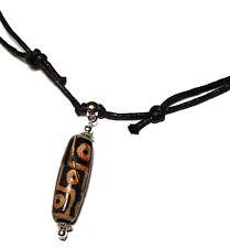 9 yeux Dzi Bead Collier Tour de cou Agate Gemstone réglable Cordon Tibétain Amulette