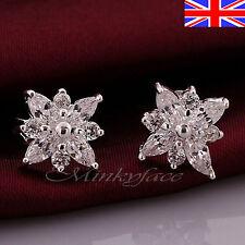 Ladies 925 Silver Crystal Stud Earrings Butterfly Back Free Gift Bag