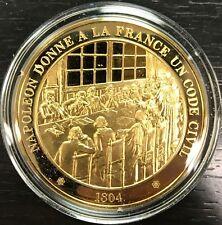 HISTOIRE DE FRANCE - Médaille Vermeil Argent Doré or fin - Napoléon Code Civil