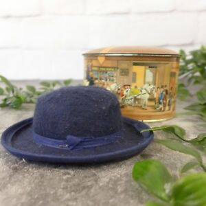 Vintage Small Navy Blue DOBBS Fifth Avenue Small Hat w/ Original Tin Box 4.50""