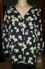 WOMENS Sz S black white & yellow COTTON ON floral 3/4 sleeve shirt LOVELY!