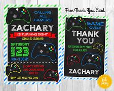 Personalized DIGITAL Boy Video Game Gamer Birthday Party Invitation DIY Print