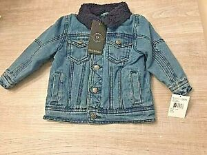 Boys Dungaree Sherpa Denim Lined Jean Jacket Denim NEW WITH TAGS  Size 24 mos