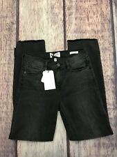Frame Le High Straight High Waist Staggered Hem Jeans Black Size 26 Distressed