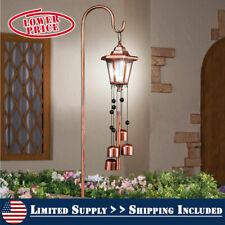 Solar Powered Copper-Colored Lantern & Bells Garden Wind Chime w/ Shepherds Hook