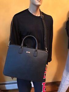100% Authentic Montblanc 109619 Meisterstück Navy Saffiano Leather Briefcase New