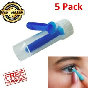 5 Pack Ultra Hard Soft Contact Lens Remover Inserter Plunger Suction Tool Blue