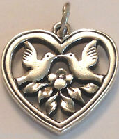 ❤️RETIRED JAMES AVERY HEART WITH TWO BIRDS CHARM ~DOVES 🐦 LOVE  🌺 JA BOX EUC❤️