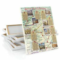 Honeymoon Road Trip Map Wedding Table Seating Plan Chart Canvas ANY LOCATION