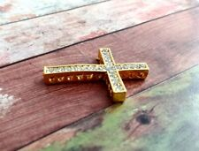 Cross Connector Rhinestone Pendant Sideways Cross Link Gold Clear 35mm