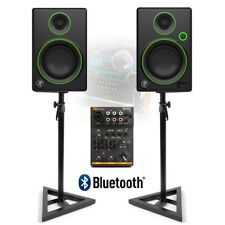 "Mackie CR3 3"" Powered Studio DJ Monitors Speakers USB Bluetooth Mixer and Stand"