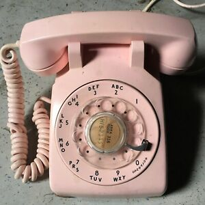 Pink 1959 Soft Plastic Western Electric 500 Telephone, Rotary Dial