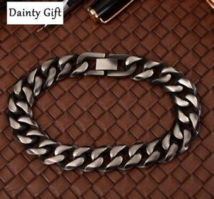 """Hip Hop Men Women Titanium Stainless Steel 7-15 mm Miami Cuban Chain Bracelet 8"""""""