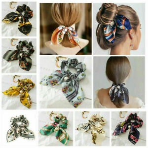 Pearl Floral Bow Scrunchie Hair Band Elastic Hair Ties Ropes Scarf Head Decor