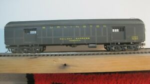 CB&Q  Baggage 1594 and Burlington RPO 1938  both built  brass side NKP Car Kit
