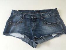 Sisley Mujer Shorts Detalle Con Tachuelas Azul Denim Slim Fit W29