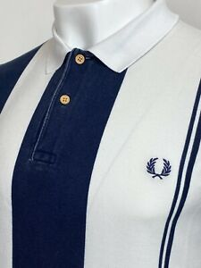 Fred Perry X Southsea Deckchairs Stripe Polo Shirt L (Blue) Mod Ska 60's Scooter