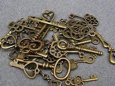 40g Bags Mixed Tibetan Key Charm Steampunk Pendants. 4 Colours (BOX17)