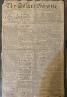 The Salem Gazette, November 10th 1795 Newspaper Print By William Carlton.
