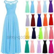 Long Chiffon Bridesmaid Formal Ball Gown Party Cocktail Evening Prom Dress 6-22