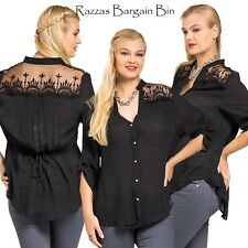 New Ladies Black Top With Lace Plus Size 14/1XL (9715)JL