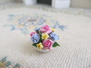Dollhouse Miniature 1:12 Artisan Flower Arrangement Tiny Dish Pastel Rose Mix