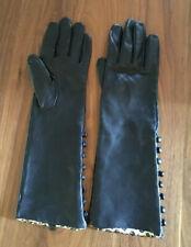 Leather Womens Gloves Black Leopard Print Silk Lining Working Button Cuffs