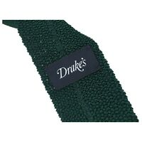 DRAKE'S cravatta uomo maglia verde cm 6 100% seta MADE IN GERMANY