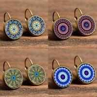 Retro Boho Geometric Pattern Round Drop Dangle Earings Elegant Women Jewellery
