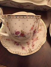 ONE GRACE'S TEAWARE TEA CUP &SAUCER WITH FLOWERS AND GOLD TRIM NEW FREE SHIPPING