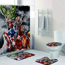 Marvel Los Vengadores Cuarto De Baño Alfombras Set 4PCS Cortina de ducha Alfombra de Baño Cubierta De Tapa De Inodoro
