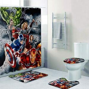 Marvel Avengers Bathroom Rugs Set 4PCS Shower Curtain Bath Mat Toilet Lid Cover