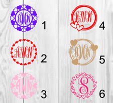 Personalized Monogram Vinyl Decal 3x3 Hearts A (VALENTINE's)