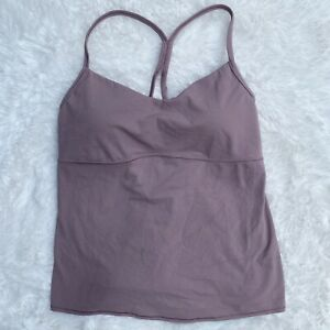 ATHLETA Tank Size Large Built In Bra Top Lilac Yoga Workout Racerback Athletic L
