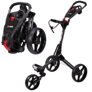 Cube Compact Trolley 3 Wheel Golf Trolley Black/Red + Umbrella Holder & Boot Bag