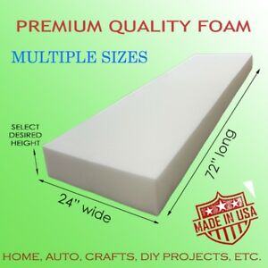 "High Density Upholstery Seat Foam Cushion Replacement Home Auto Crafts 24""x72"""