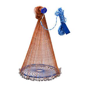 Saltwater Fishing Cast Net Easy Throw Fishing Net Strong Nylon/Tire Line Mesh