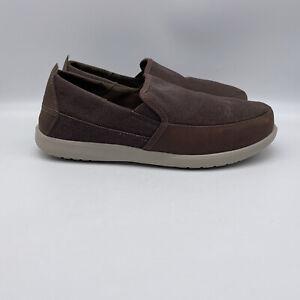 Crocs Santa Cruz Deluxe Brown Men's Low Top Slip On Casual Shoes Size 10 US
