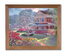 Victorian House Flowers Garden Contemporary Wall Picture Honey Framed Art Print